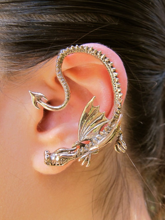 Dragon ear wrap game of thrones inspired throne dragon ear - Game of thrones dragon ear cuff ...