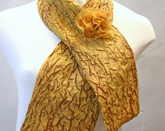 Crinkle Silk Scarflette in Gold & Brown Double Layer Scarf Lightweight Scarf Upcycled Silk Fabric with Handmade Flower Pin OOAK Gift for Her