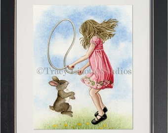 Playtime Jumping Rope - archival watercolor print by Tracy Lizotte