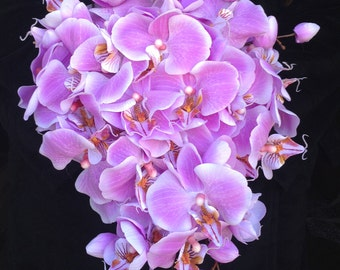 Light Purple True-Touch Orchid Cascading Bouquet
