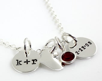 Initial Charm Necklace - You plus Me with Heart Charm Date hand stamped and personalized sterling silver necklace - two discs