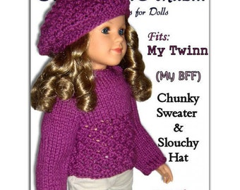 Knitting Pattern fits My Twinn (My BFF), 23 inch dolls. Sweater and Slouchy Hat. PDF, 643