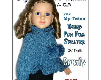 Doll sweater knitting pattern, fits My Twinn and 23 inch dolls. (my BFF)  PDF 650