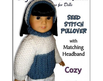 PDF 18 inch doll knitting pattern. Fits American Girl Doll, Journey Girls, Instant Download 001