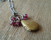 Mini Locket & Garnet Necklace - Brass Teardrop Locket and Red Gemstone Cluster on Oxidized Sterling Chain