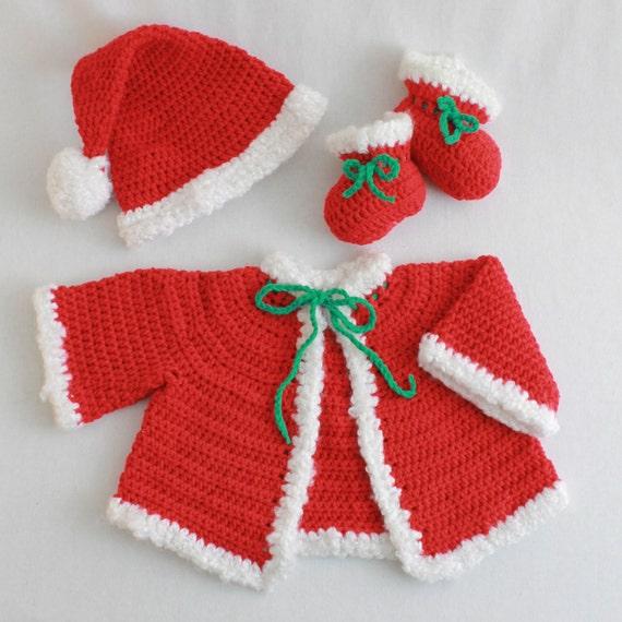 Quick Easy Crochet Baby Hat Pattern : Santa Baby Set Crochet Pattern PDF