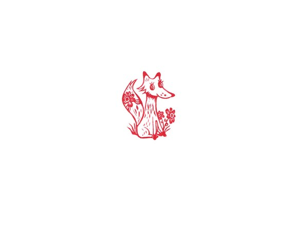 Frisky Red Fox Rubber Stamp Sitting in Flowers, Hand Carved Stamp Fox With Flower, Soap Stamp, Foxy Red Fox Rubber Stamp Tag or Letterboxing