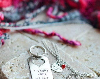 Couples Gift Set with Dog Tag Keychain and Heart Necklace