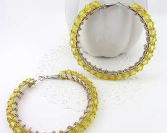 Yellow Chain Wire Wrapped Crystal Hoop Earrings