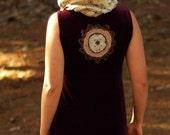 Upcycled Cowl Neck Hood Dress -:- Upcyled Hippie  Clothing  - women maxi dress - purple velvet gypsy fabric