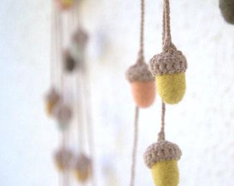 Acorns garland Autumn fall 10 Felted Pastel crochet garland felt wool woodlands nursery enchanted forest Wedding party decor beige