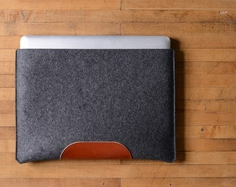 "MacBook Pro Sleeve - Charcoal Felt and Brown Leather Patch for the New 13"" MacBook Pro or the New 15"" MacBook Pro"