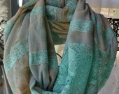 SALE Sheer Satin Scarf with Turquoise Lace Applique