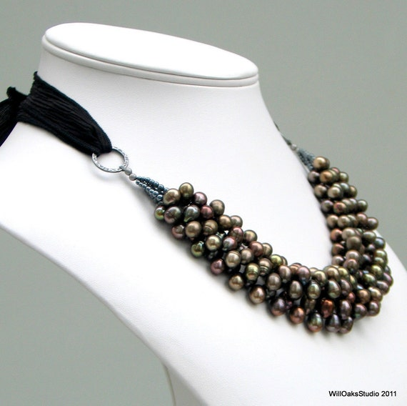 Bronze Brown Pearl Bib Necklace, Multistrand Statement Bib on Black Silk Ribbon, Rich Designer Necklace, Contemporary Classic Pearls