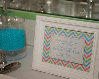 CHEVRON Printable Party Welcome / Dessert Table Sign