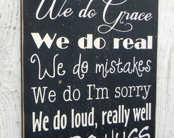 In this House - family rules typography large wood sign