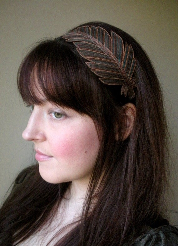 Feather Headband- Fashionably Unique Silk Fabric Feather- Brown Silk with Teal, Sienna, and Bronze Embroidery