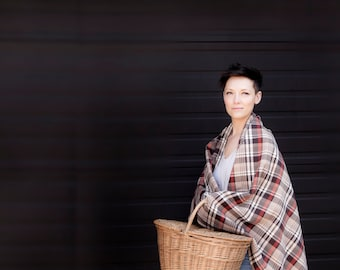 Picnic Blanket- Soft Brown Wool Plaid- Large Picnic Blanket, Classic, Unisex, Summer, Rustic Decor