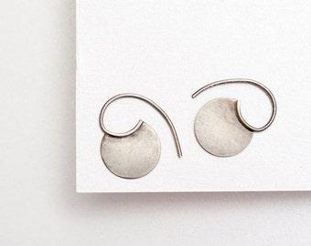 Tiny silver tribal earrings, blade earrings, tiny silver hoops