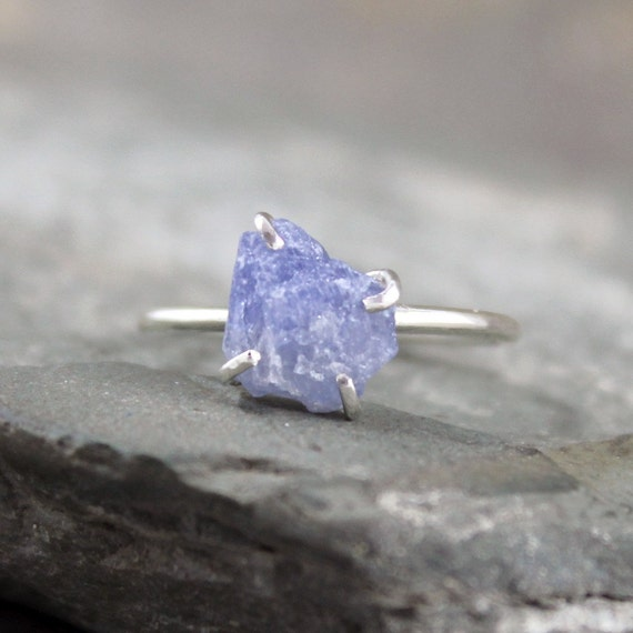 Blue Sapphire Ring Raw Uncut Blue Sapphire Sterling By