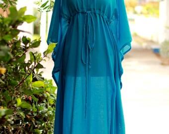 Caftan Maxi Dress - Beach Cover Up  Kaftan in Teal Cotton Gauze