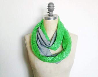 Infinity Scarf, Neon Green, Lace Scarf, Boho Style