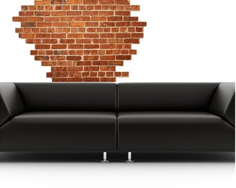 Popular items for brick wall decal on etsy for Brick wall decal mural