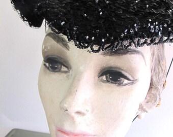 1960s Vintage Black Sequins Netting Hudsons Hat