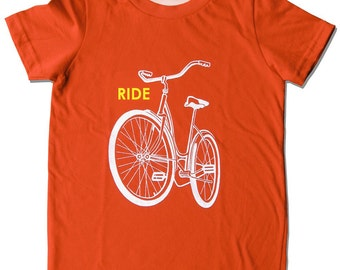 Kids Bike Shirt, Children's BIKE t-shirt, Ride a bike tee, Birthday Bike Shirt, screen print old school schwinn design, bicycle biking shirt