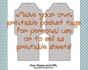 Printable Pocket Tag Template 0030 - 2.5 in by 3.75 in. - DIY Digital Template in Photoshop Format - Commercial Use OK - Instant Download