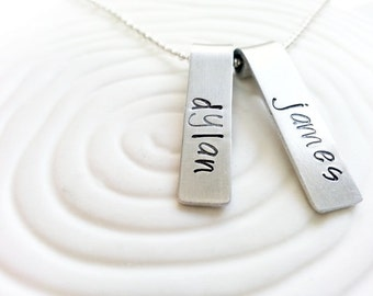 Personalized Hand Stamped Name Necklace - Mother's Necklace - Two Name Mother's Jewelry