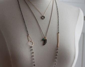 Long Rough Diamond Bar Necklace
