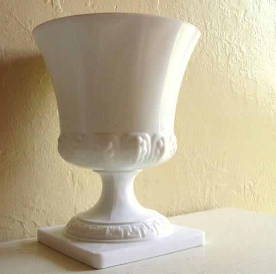 Large Milk Glass Pedestal Vase Compote Wedding Decoration