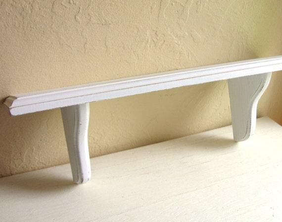 shabby chic distressed white wood wall shelf by shabbynchic