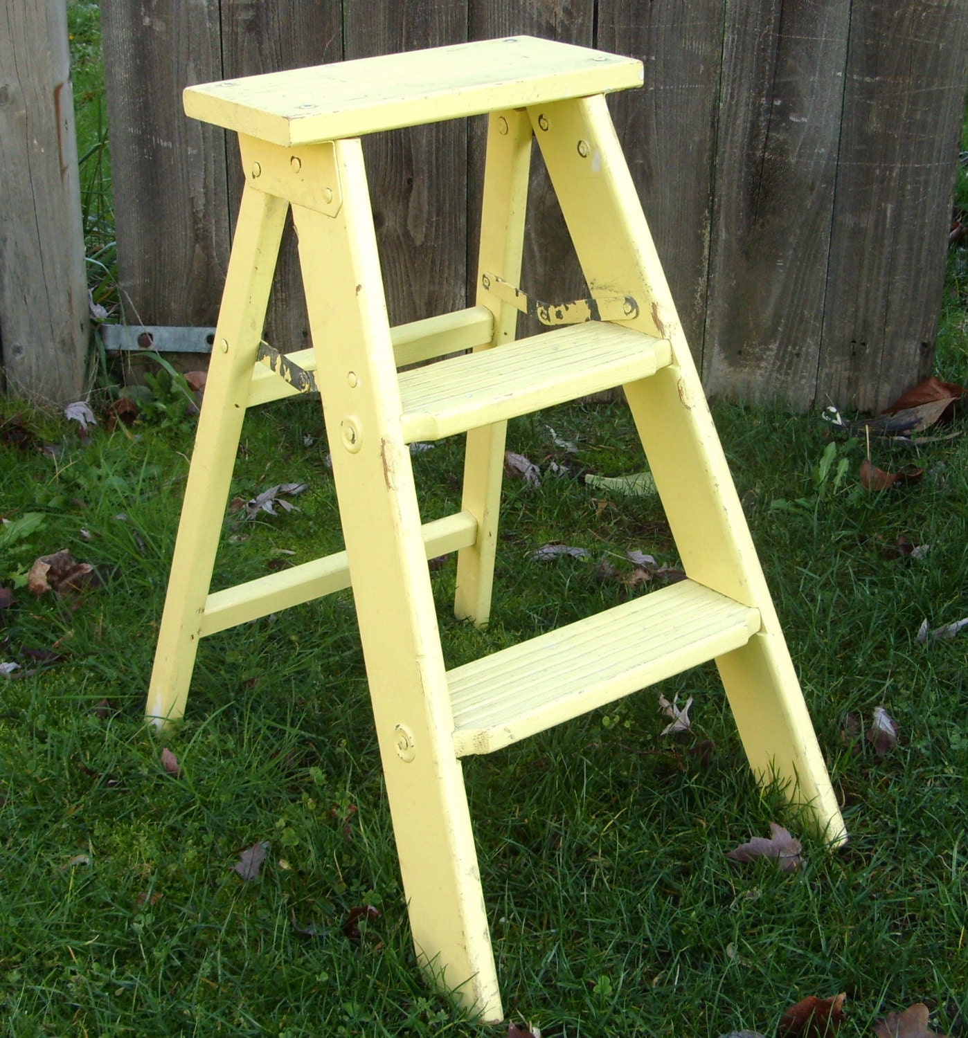Old Yellow Wood Folding Ladder Wooden Step Stool By