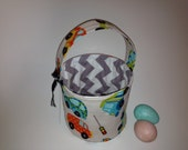 Peak Hour - Reversible Fabric Easter Basket - Cars and Trucks for the Boys