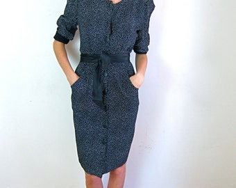 Gorgeous Black and White Patterned 80's Dress