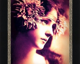 EVELYN NESBIT (the original Gibson Girl) with Chrysanthemums in Hair - Giclee Fine Art Print of Enhanced Vintage Photo