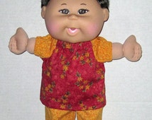 Cabbage Patch Babie Doll Clothes Golden Red Flower Print Set 13  14  inch Doll Clothes   Made in USA