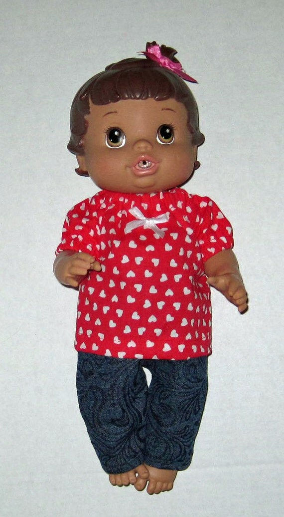 Baby Alive Doll Clothes Red Heart Top and Jean Set Fits 12 13