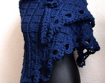 triangular shawl alpaca dark blue