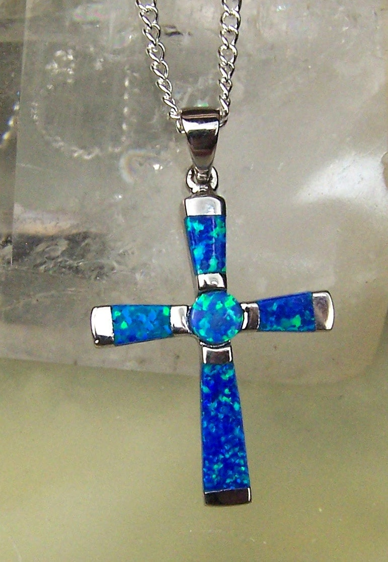 Opal Cross Necklace Pendant Opal Cross Necklace