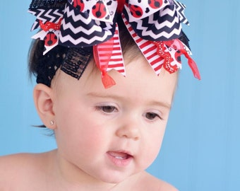 Red Black Chevron Ladybug Over The Top Funky Birthday Boutique Hair Bow on matching Headband