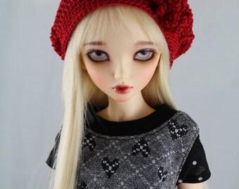 Red Crochet Hat for MSD BJD, Minifee, MNF -New Style-