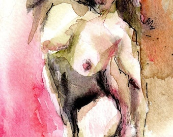 Nude With Black Bustier, Giclee Print From Original Watercolor Painting, Nude Woman, Figurative Art, Free Shipping, Made to Order