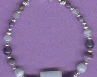 Amythyst and Blue Lace Agate Gemstone Bracelet