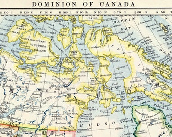 1914 Vintage Map of the Dominion of Canada