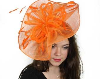 Highball Orange Fascinator Hat for Weddings, Races, and Special Events With Headband