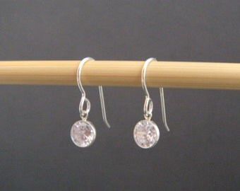 small sterling silver CZ earrings cubic zirconia dangle tiny diamond faux alternative clear crystals everyday simple hook leverback  6 mm