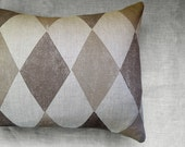 Two toned taupe Harlequin on natural undyed gray brown linen hand block printed home decor geometric pillow case
